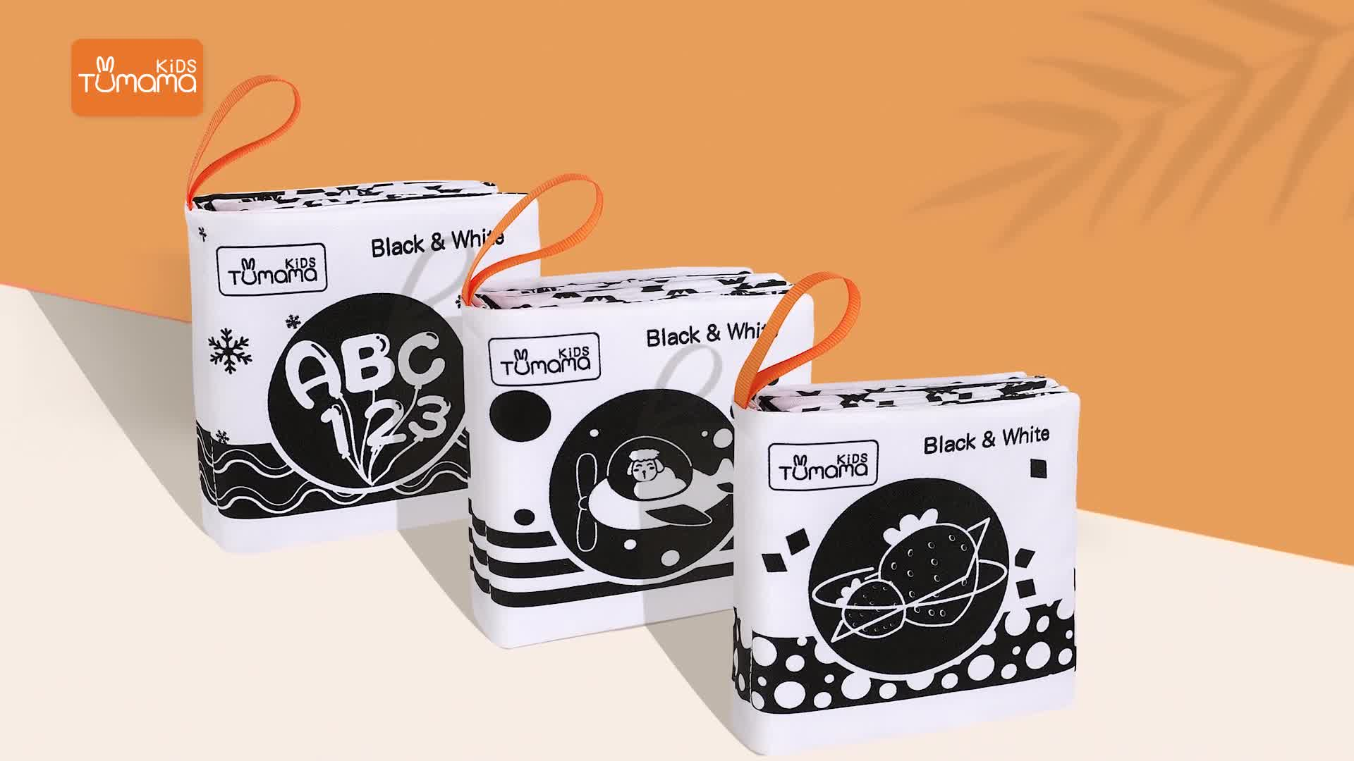 3pack black and white kids educational toy soft cloth book for baby