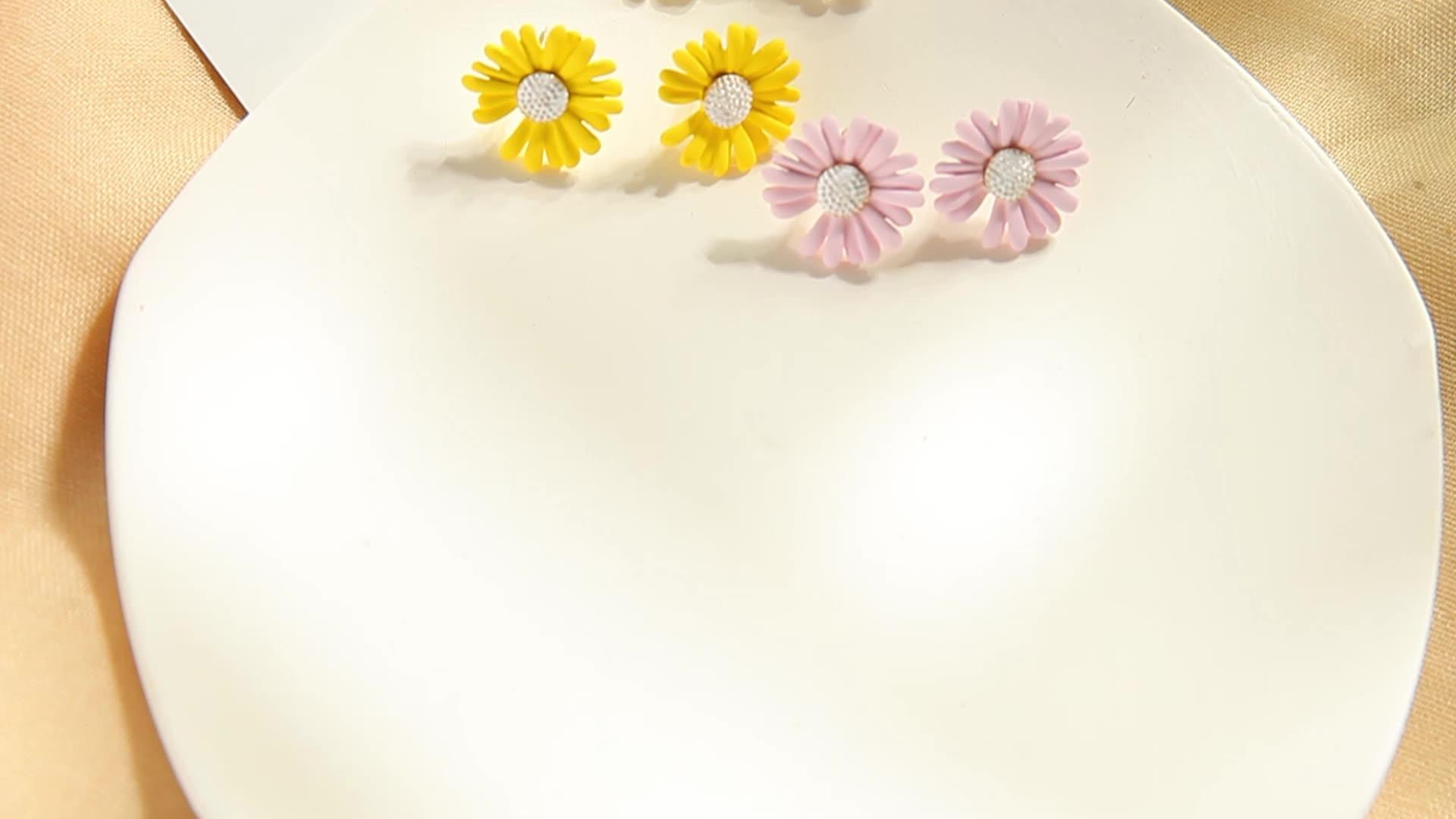 E0403 2020 เกาหลี Hot Kpop Star GD ที่ดีที่สุดดอกไม้ลบ One กลีบ Peace ผู้หญิงบริสุทธิ์เครื่องประดับ Daisy ต่างหู