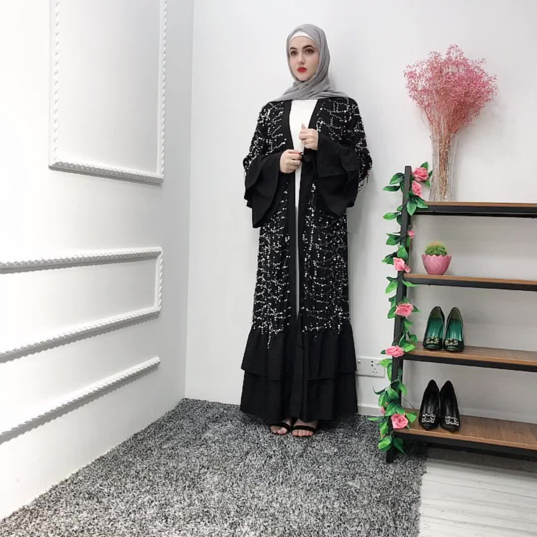 2019 latest arrival abaya designs black with sequins tesseels Material Abaya for Women