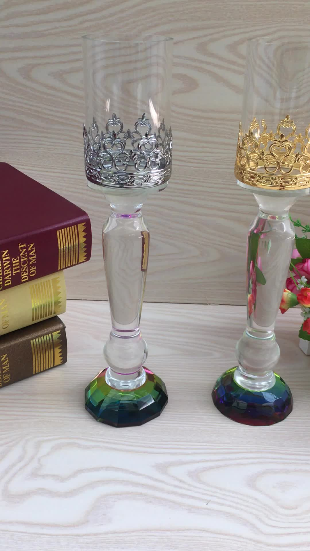 Wholesale single head crystal glass candle holder home table decoration