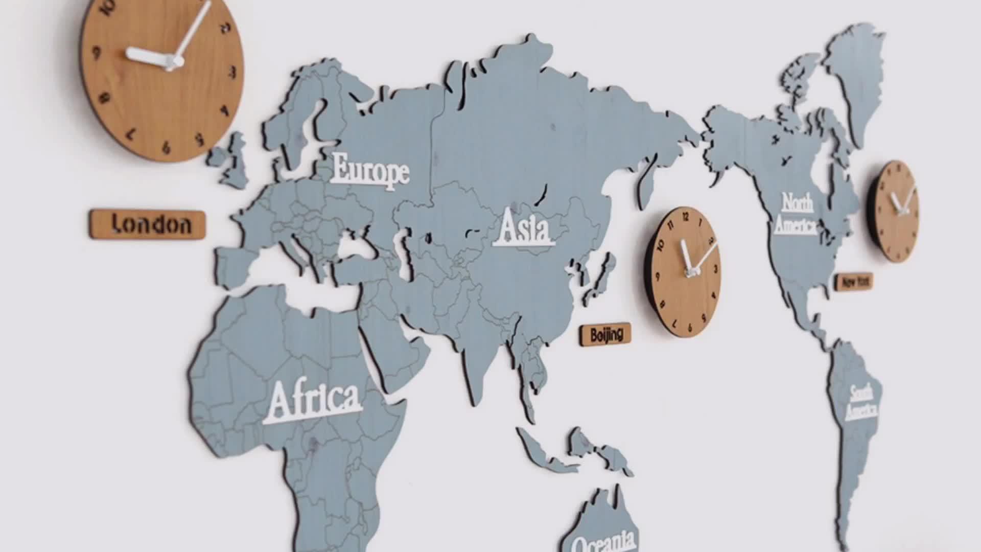 Large Wall Clock Modern Designs Wooden Creative World Map Watch Silent Quartz Custom Decorative Map Clock for Home/Office
