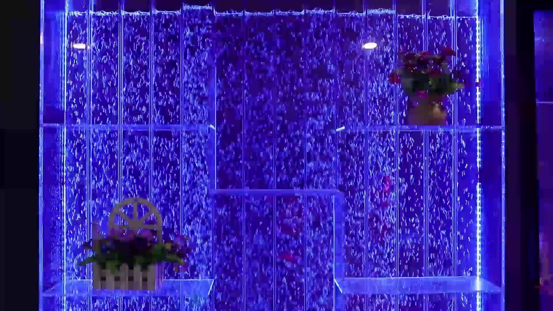घर शराब बार कैबिनेट फर्नीचर रंगीन एक्रिलिक पानी के बुलबुले की दीवार एलईडी शराब कैबिनेट