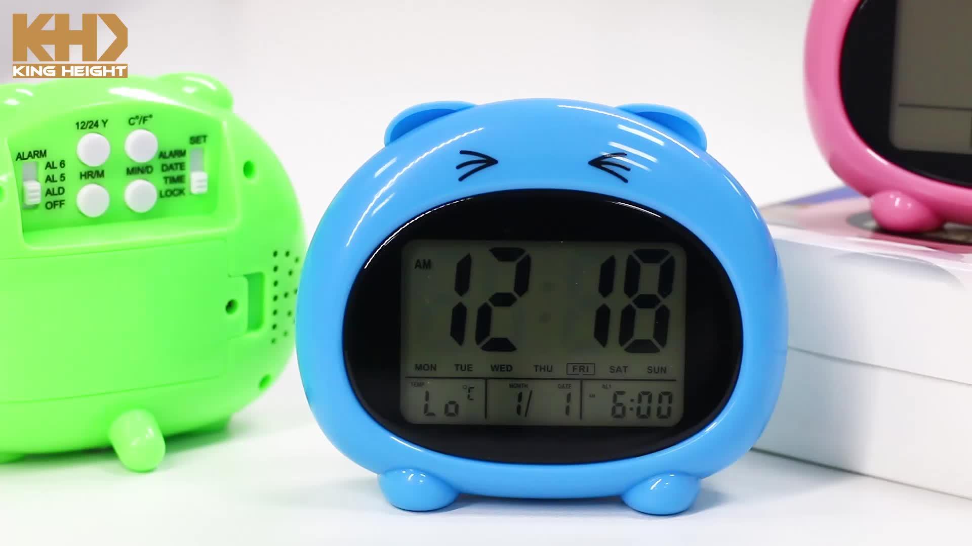 KH-CL131 Multifunctional डेस्कटॉप डिजिटल कैलेंडर तापमान प्रदर्शन अंग्रेजी बात कर रहे पशु बच्चों के लिए अलार्म घड़ी