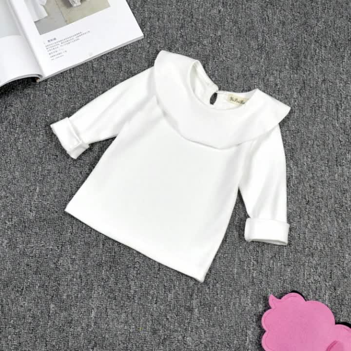 Wholesale Children Clothing USA Solid Color Lotus Leaf Fall Long Sleeves T-shirt