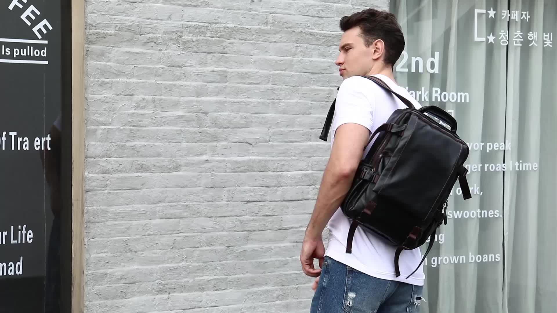 Hot Jual 15 Inch Anti Pencurian Kustom Sekolah Ransel Pria Kulit Asli Tas Laptop Komputer Pria Tas Ransel untuk Pria