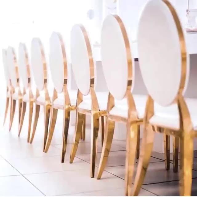 Silla de comedor de respaldo alto de acero inoxidable, moderna, dorada, para banquete y boda, nuevo diseño