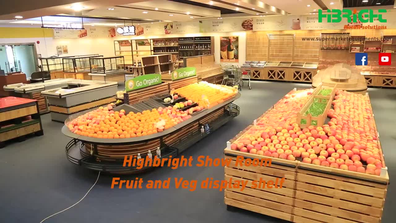 Super Market Merchandising wooden Double Sided Tilt-Top Produce Table display for vegetables