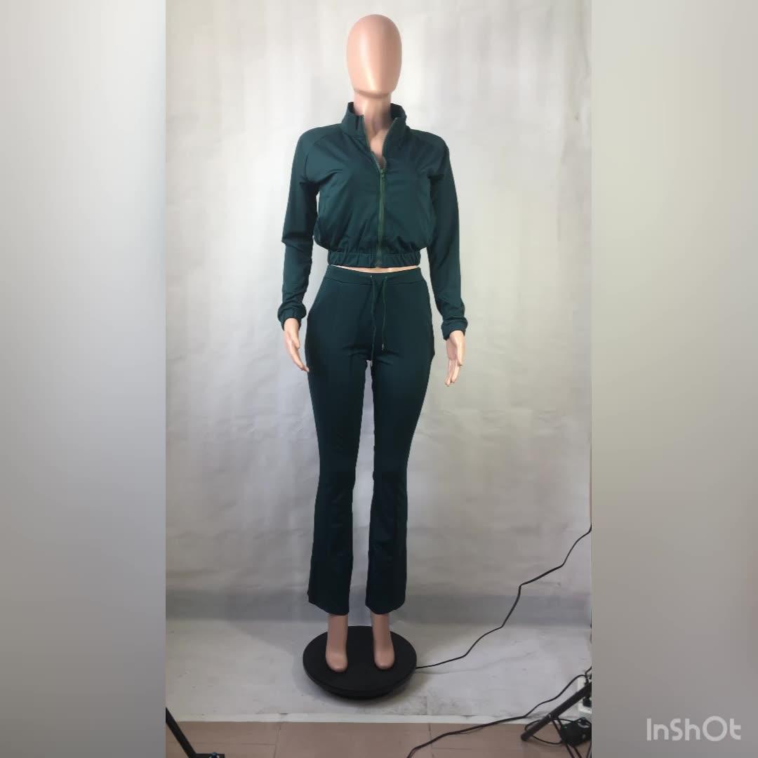 2020 섹시 레이디 2 Pcs 조깅 지퍼 벨 바지 솔리드 Tracksuit 겨울 플러스 사이즈 가을 여성 의류 두 조각 세트