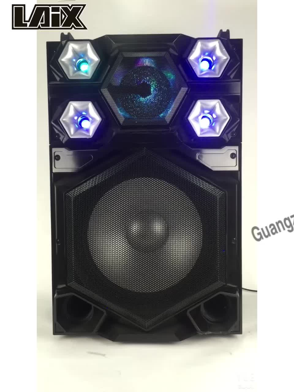 Laix SS-1 Wooden Case USB SD BT FM AUX MIC Input Disco LED Light Professional Audio Theater Stereo System Active Stage Speaker
