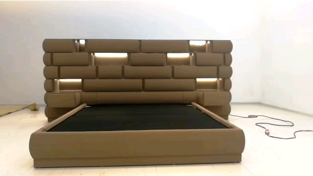 Italian modern luxury leather bed wooden frame bed frame double/king for bedroom