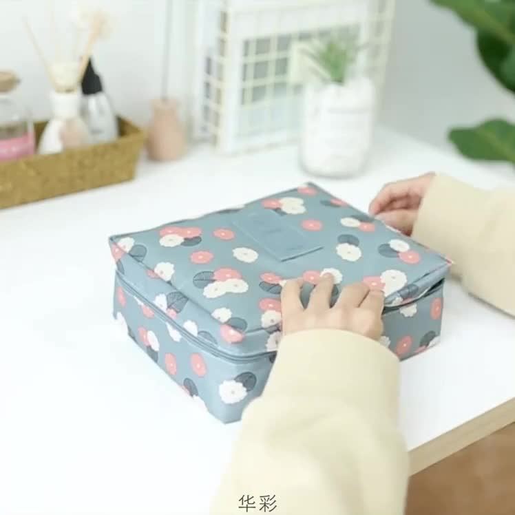 210T Nylon Travel Bag Printed Multifunction Portable Toiletry Bag Cosmetic Makeup Pouch Case Organizer for women travel