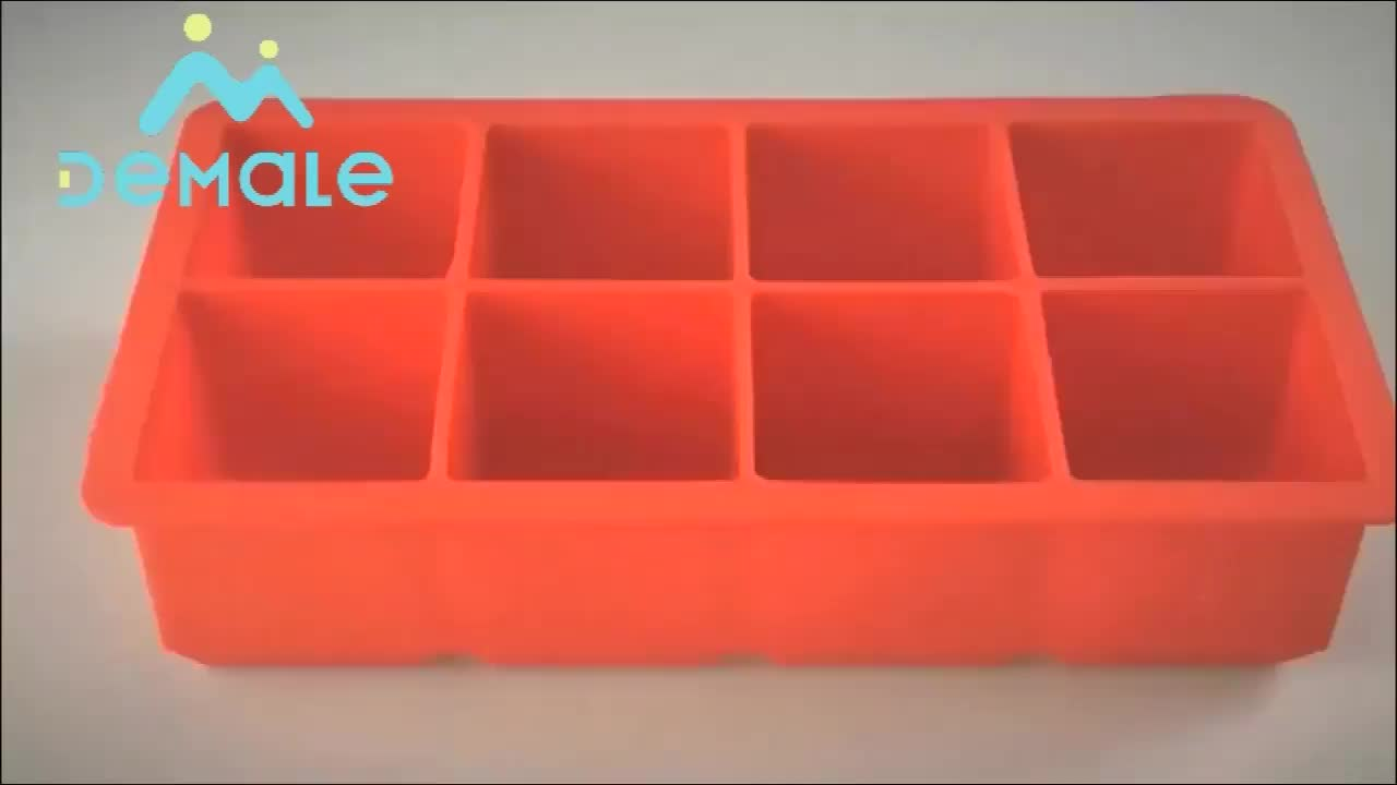 Customize printing 8 Cavities square shaped silicone Ice Cube Pop Tray Mold with Lids