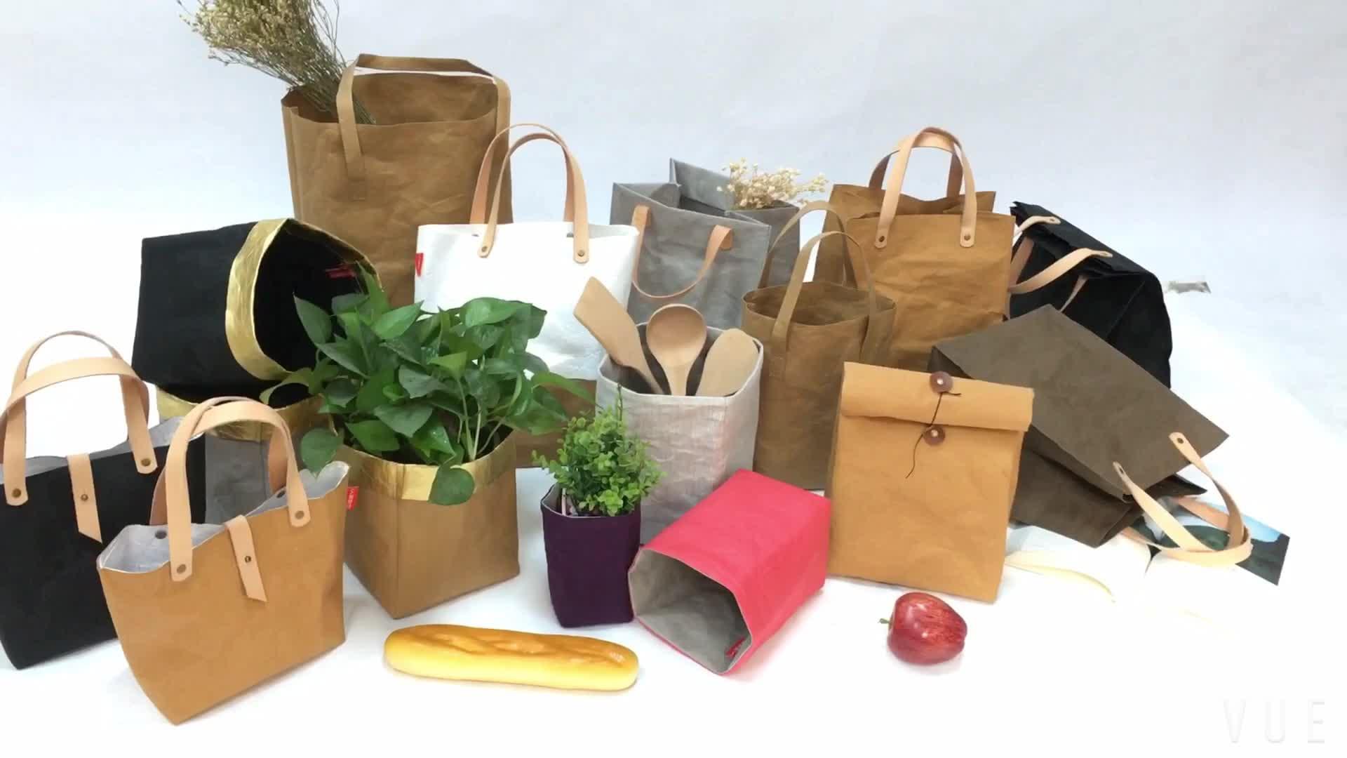 カスタム防水リサイクル茶色の紙クラフト食料品トートバッグ