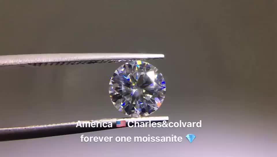 Bán Buôn Nhân Tạo Charles Colvard Mãi Mãi Một 8 Trái Tim Và 8 Mũi Tên Tròn Không Màu Giác Cắt Hoàn Hảo Đá Moissanite Lỏng