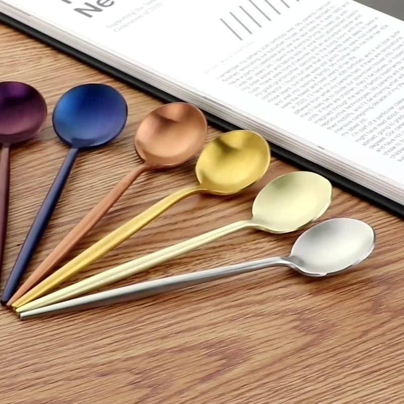 Stainless steel 헝클어 진 폴란드어 multicolor 차 커피 small round 숟가락
