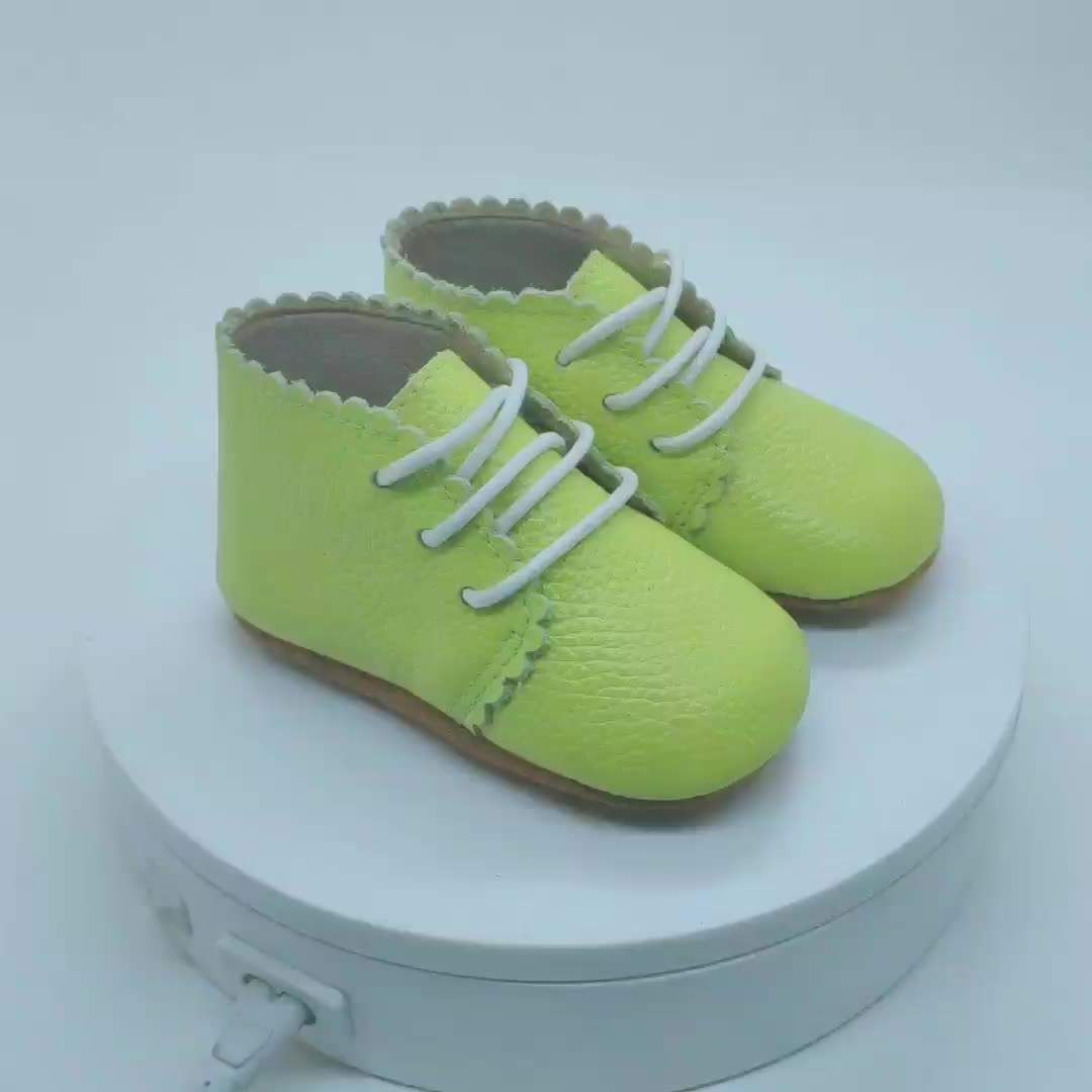 New Style Unisex Non-Slip Soft Sole Genuine Leather Light Green  Leather Baby Shoe