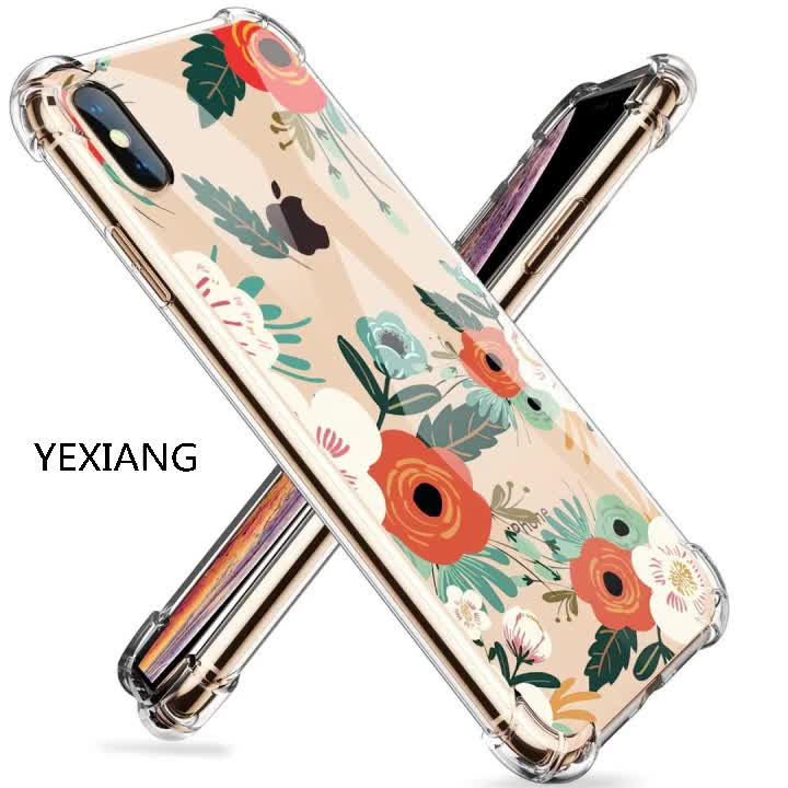 best sellers Clear Flower Pattern Design cell phone case,Shockproof Transparent phone case for iphone xs case