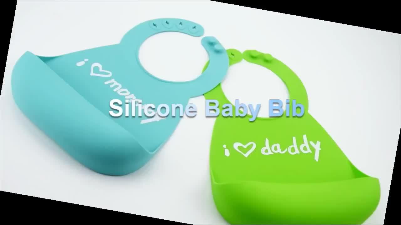 Molle Del Silicone Del Bambino Impermeabile Bavaglini 2 Pack per Alimentazione Bambini con Crumb Catcher Pocket