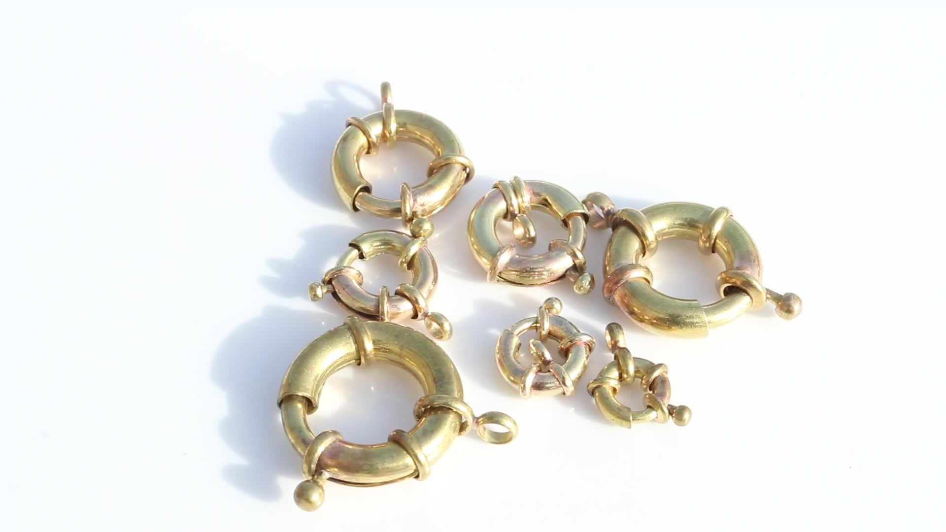 สร้อยคอเครื่องประดับ clasp 13 มม.MATE Gold ฤดูใบไม้ผลิล้อแหวน Clasps