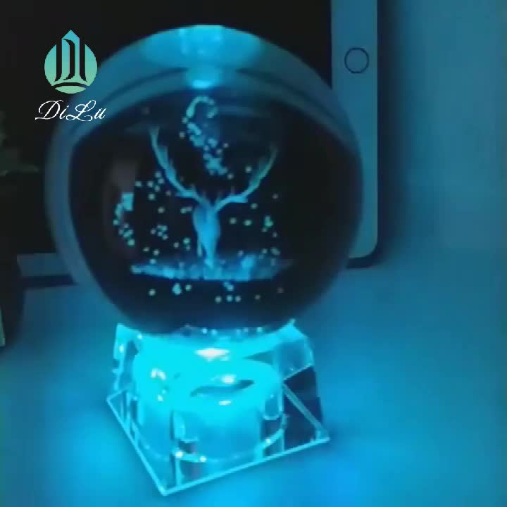DILU Wholesale Custom logo 3D Laser Clear Galaxy K9 Crystal Sphere Solar Glass Ball with Led Crystal Stand Base
