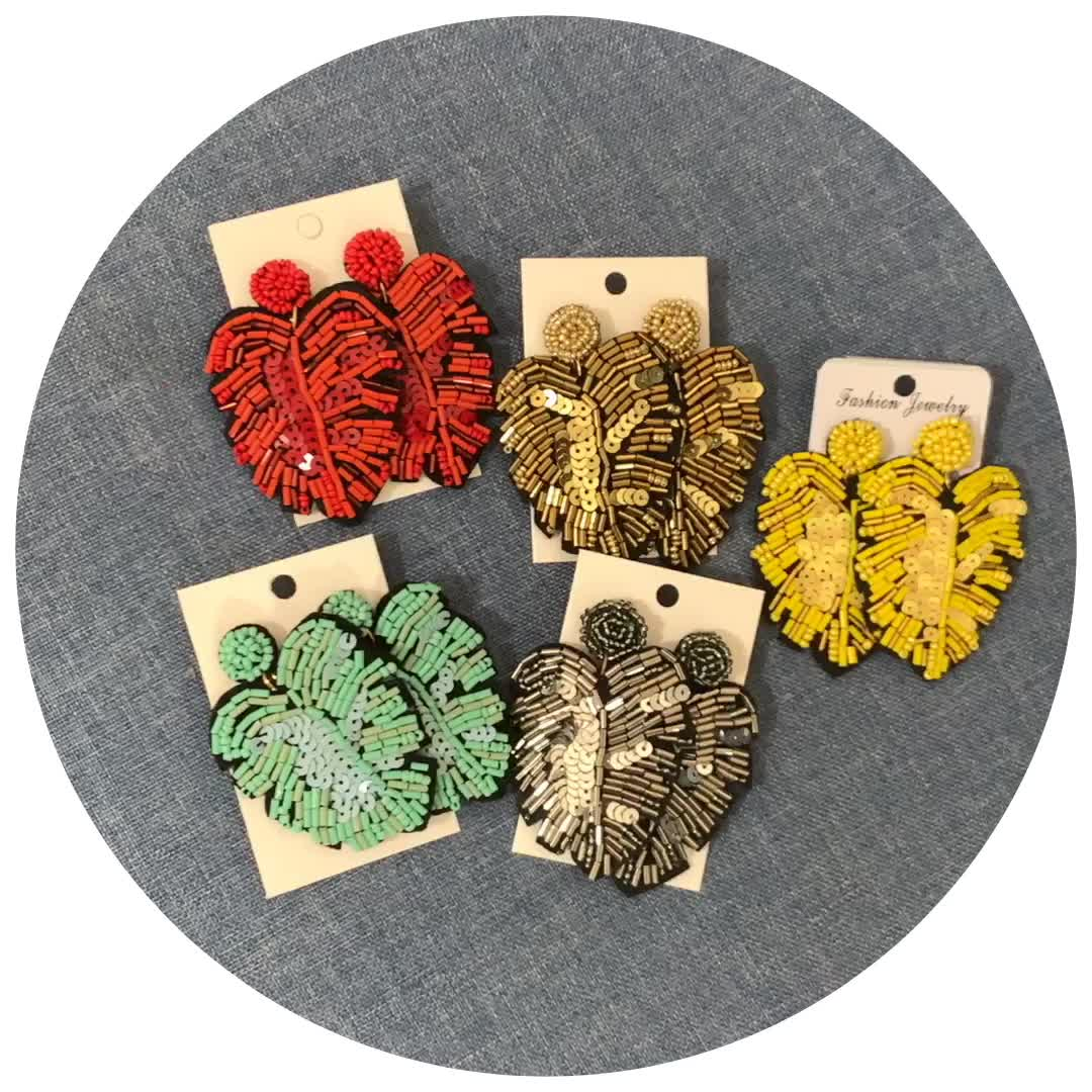 2019 New Statement Leaf Shape Handmade Seed Beads Earrings Exaggerated Summer Earrings For Women