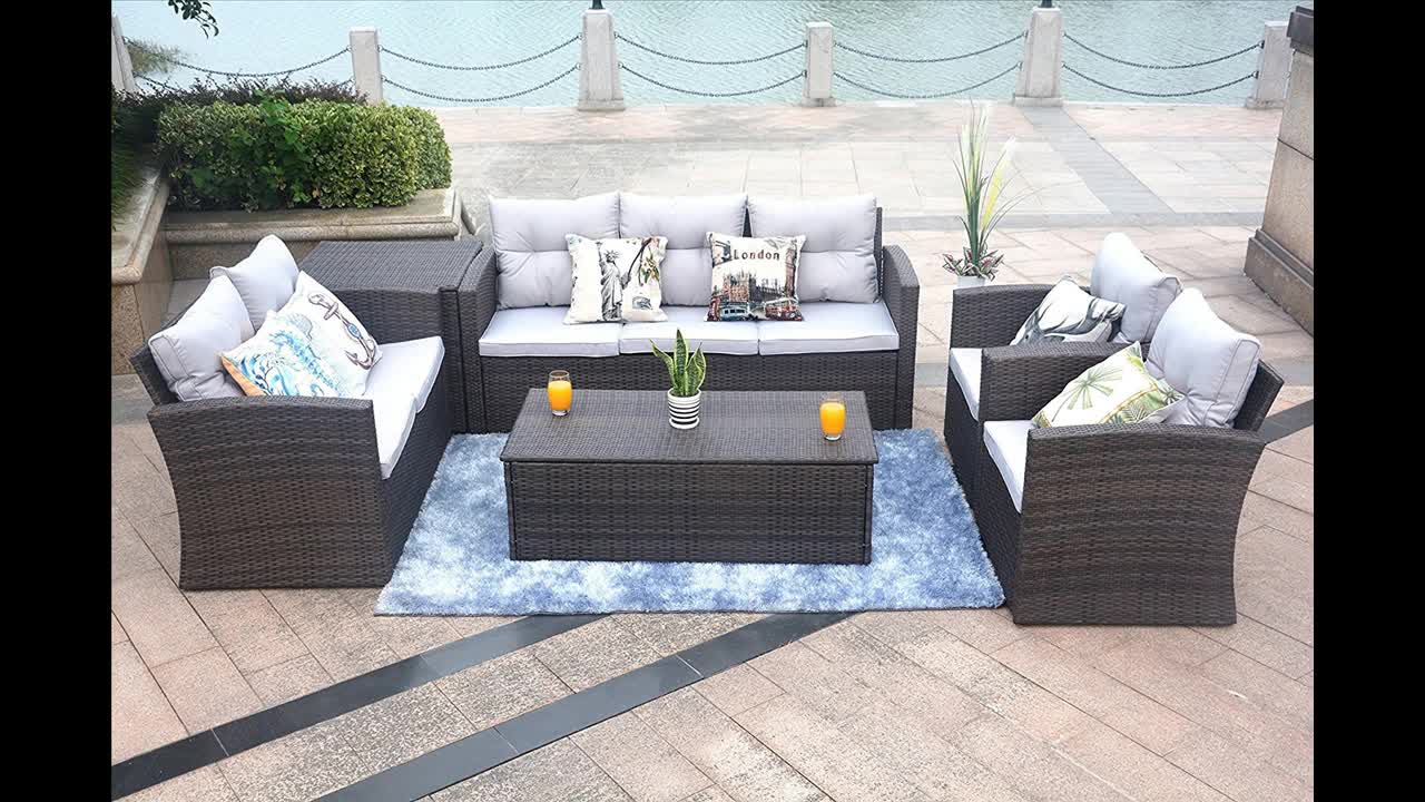 Diseño moderno al aire libre muebles de jardín de ratán mimbre sofás con caja de almacenamiento