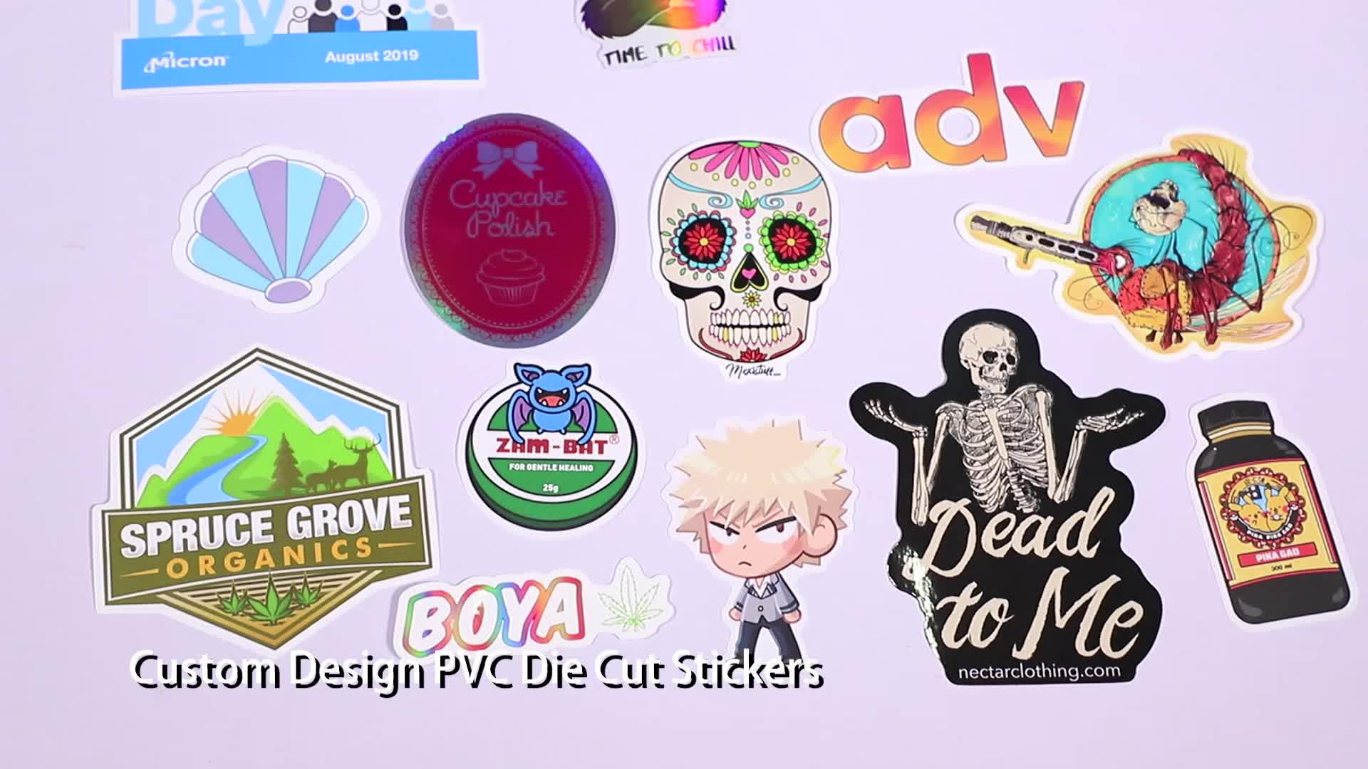 Custom Die Cut Vinyl Stickers Printing, Adhesive Waterproof PVC Label Company Logo Design Cartoon Stickers