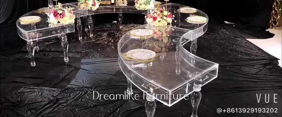 ใหม่มาถึงสี่เหลี่ยมผืนผ้าอะคริลิคใสงานแต่งงานโต๊ะรับประทานอาหาร