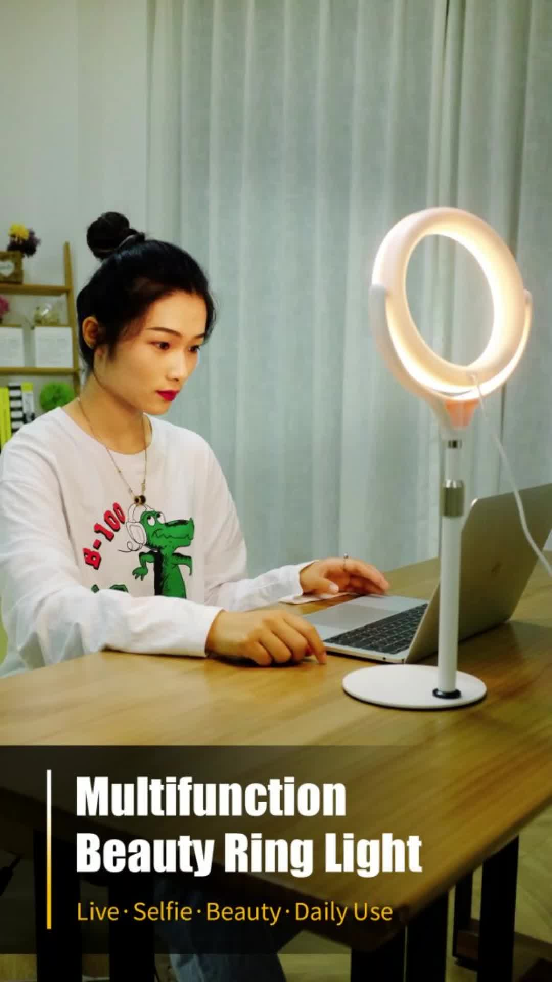 8 इंच अंगूठी प्रकाश स्टैंड के साथ तिपाई फोन धारक स्वफ़ोटो कैमरा फोटोग्राफी के लिए मेकअप वीडियो लाइव स्ट्रीमिंग