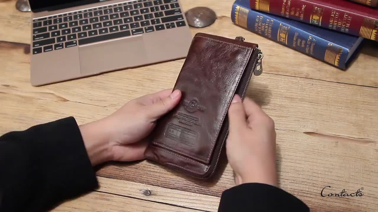 drop ship contact's fashion detachable strap wrist long rfid blocking woman genuine leather clutch wallet with zipper pocket
