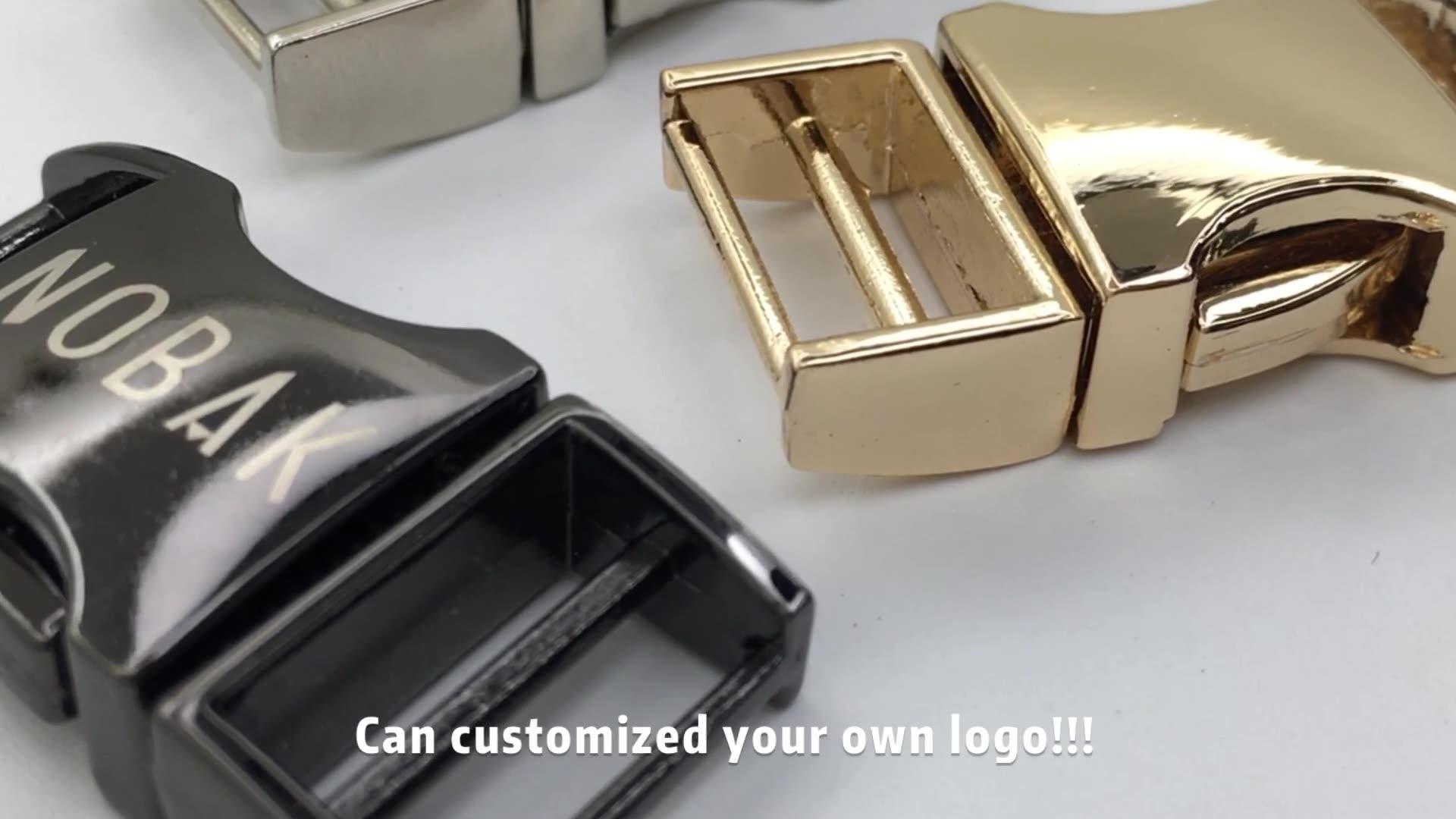 Hebilla de liberación pequeña con logo de aleación de Zinc grabado Paracord Collar Metal oro plata lado para perros