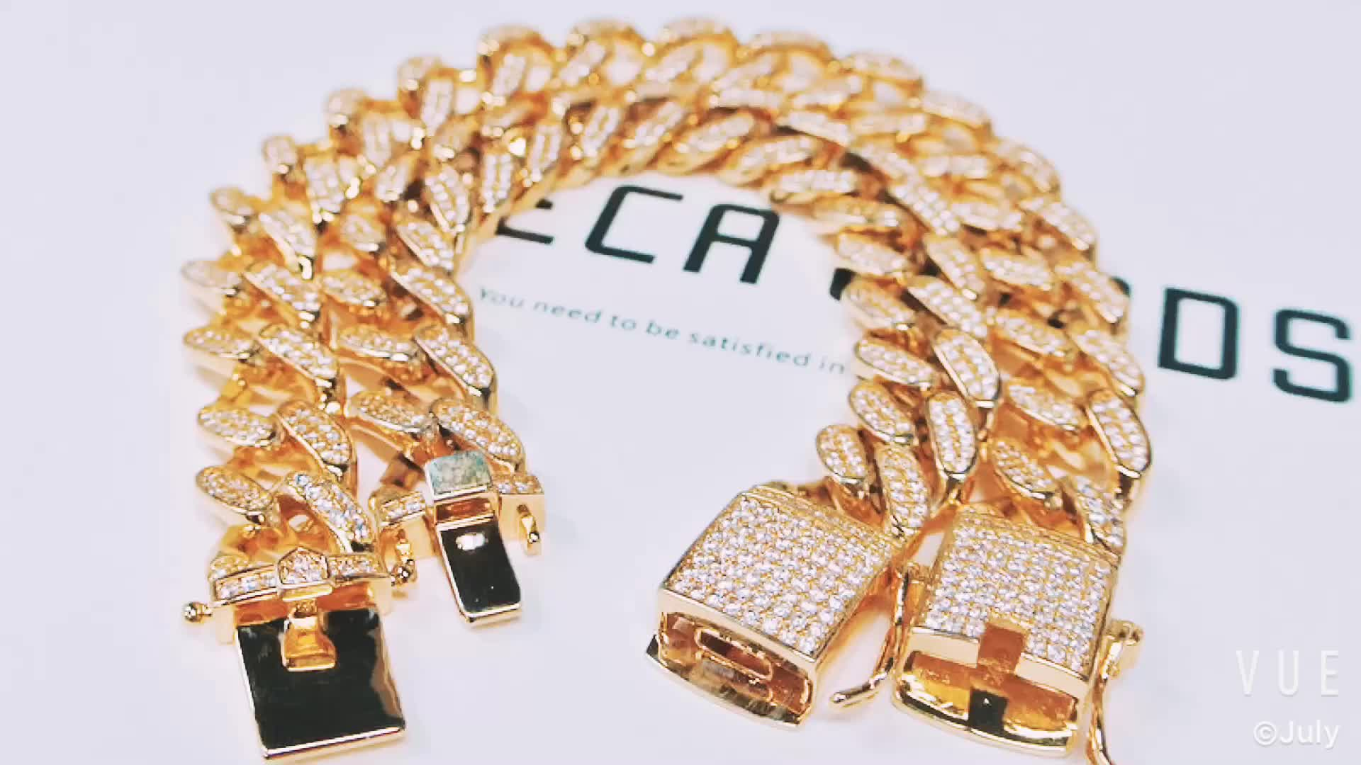 USA top selling fashion hop cz gold plated miami cuban link chain bracelet for men in style