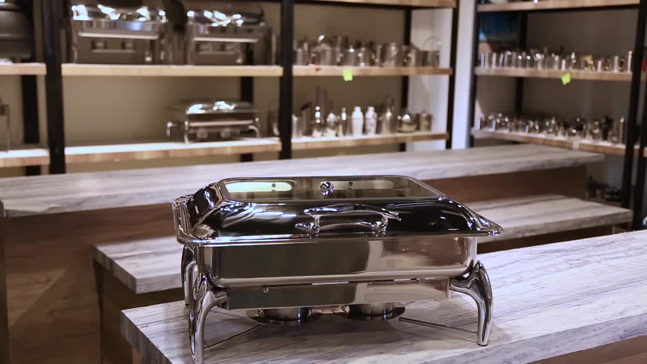 Hotel Equipment Food Warmer Dish Soft Close 9L Rectangle Buffet chafing dishes