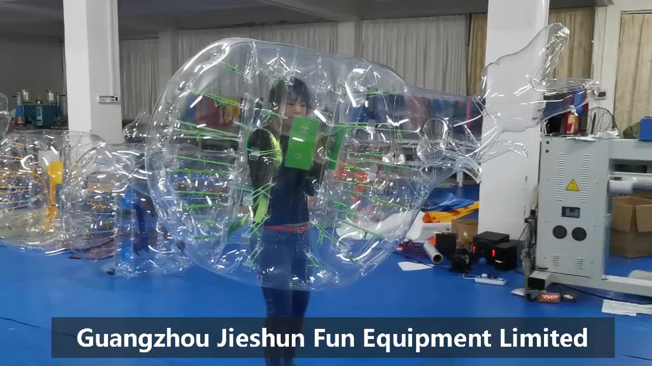 Factory 1.35m green straps handles and strings transparent dinosaur shape inflatable body bubble soccer bumper ball