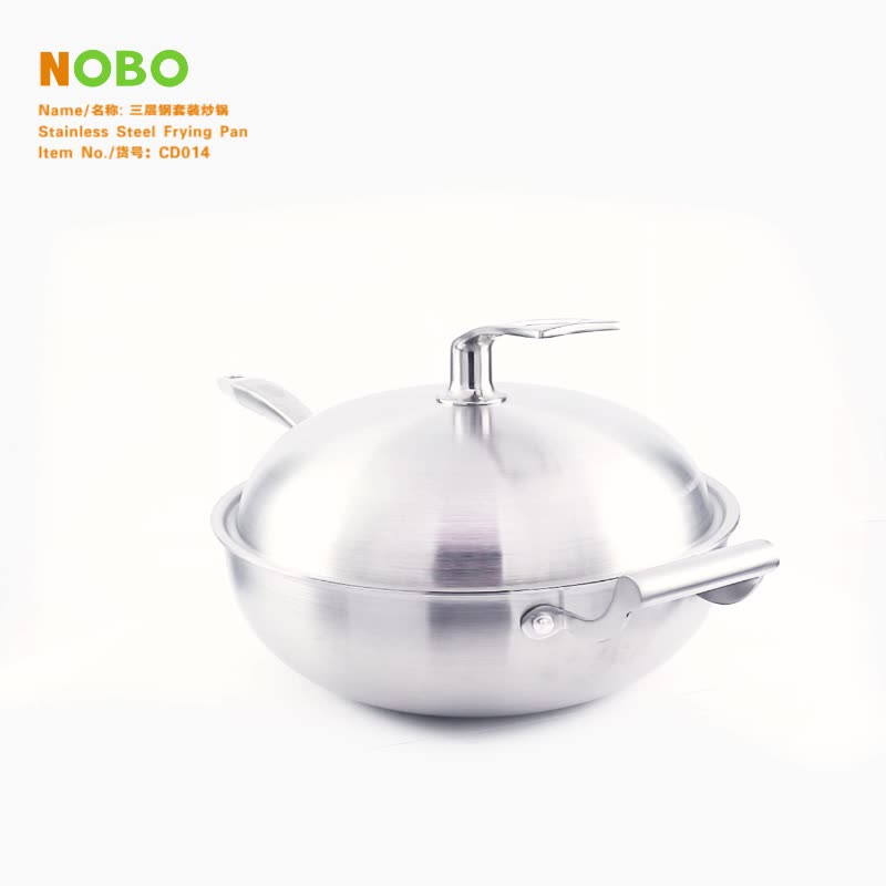 China Supplier NOBO Kitchen Cookware Cooking Deep Stir Wok Fry Pan Set Tir-ply Stainless Steel Frying Pan with Lids
