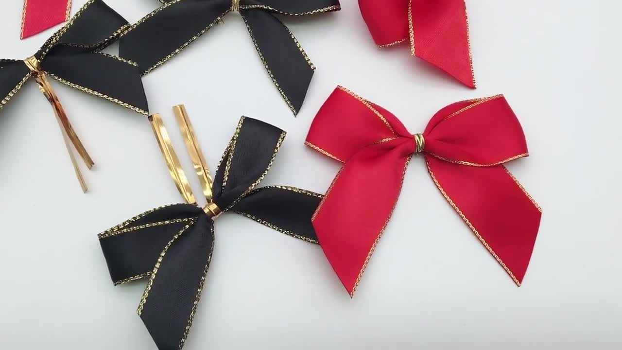 Hotsale gold satin ribbon make bottle neck bows wine bottle bow tie decoration ribbon bow