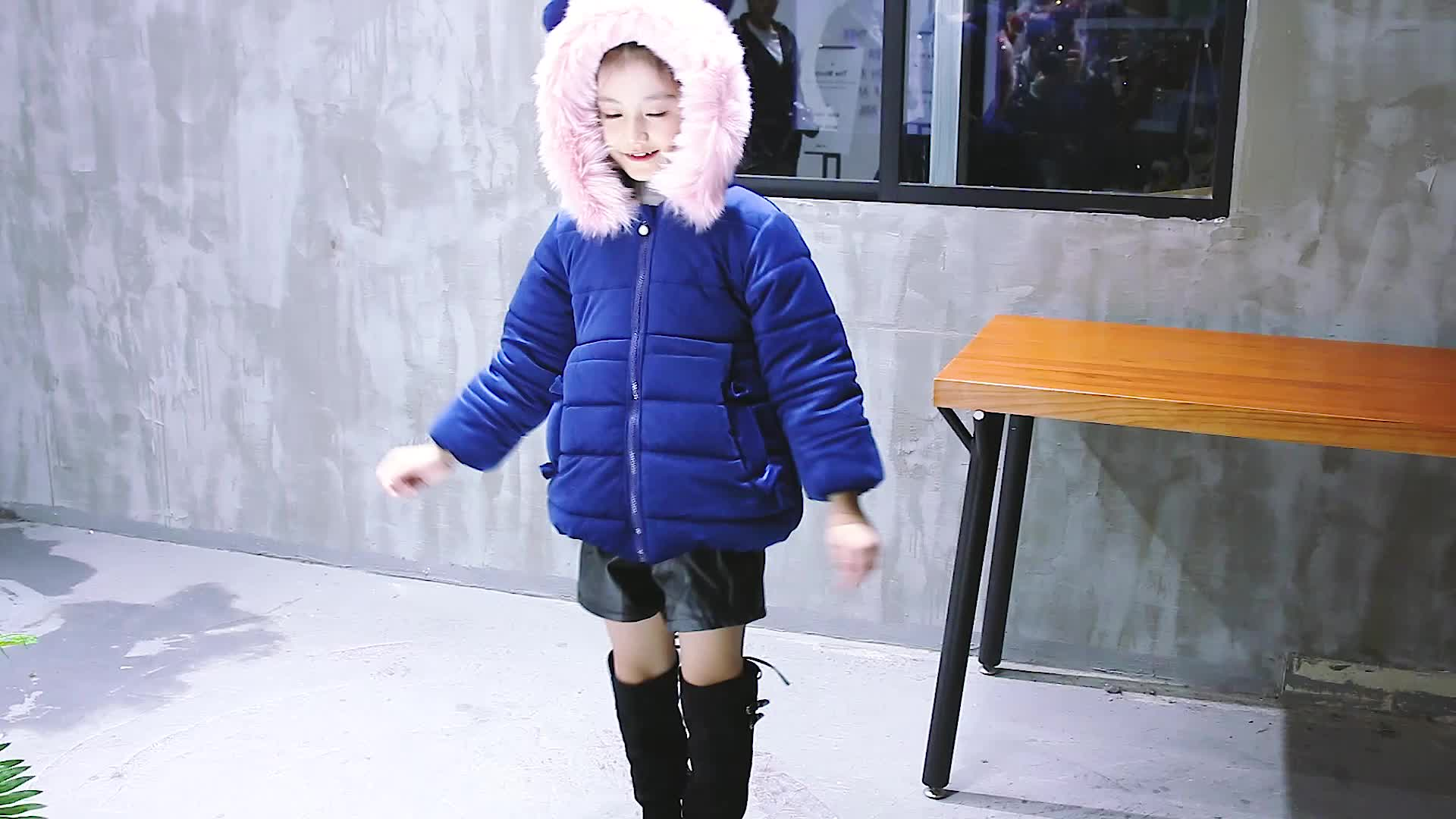 new warm lovely baby girls hooded coats pink kids coat for winter
