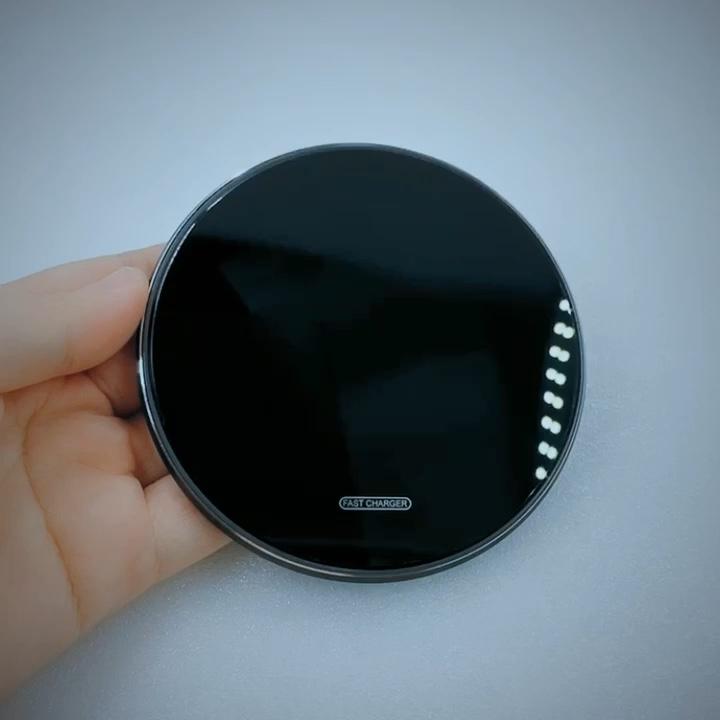 Produk Baru 15W Fast Charging Wireless Cermin Tempered Akrilik Cepat Charger 15W Telepon Ultra Slim Charger Wireless