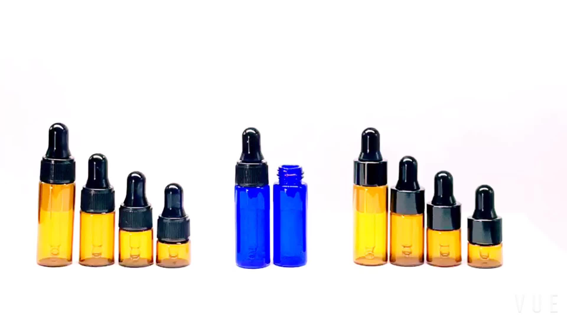 1 ml 2ml 3ml 5ml Tester Amber Glass Aromatherapy Bottle Small Diffuser Essential Oil Dropper Bottle