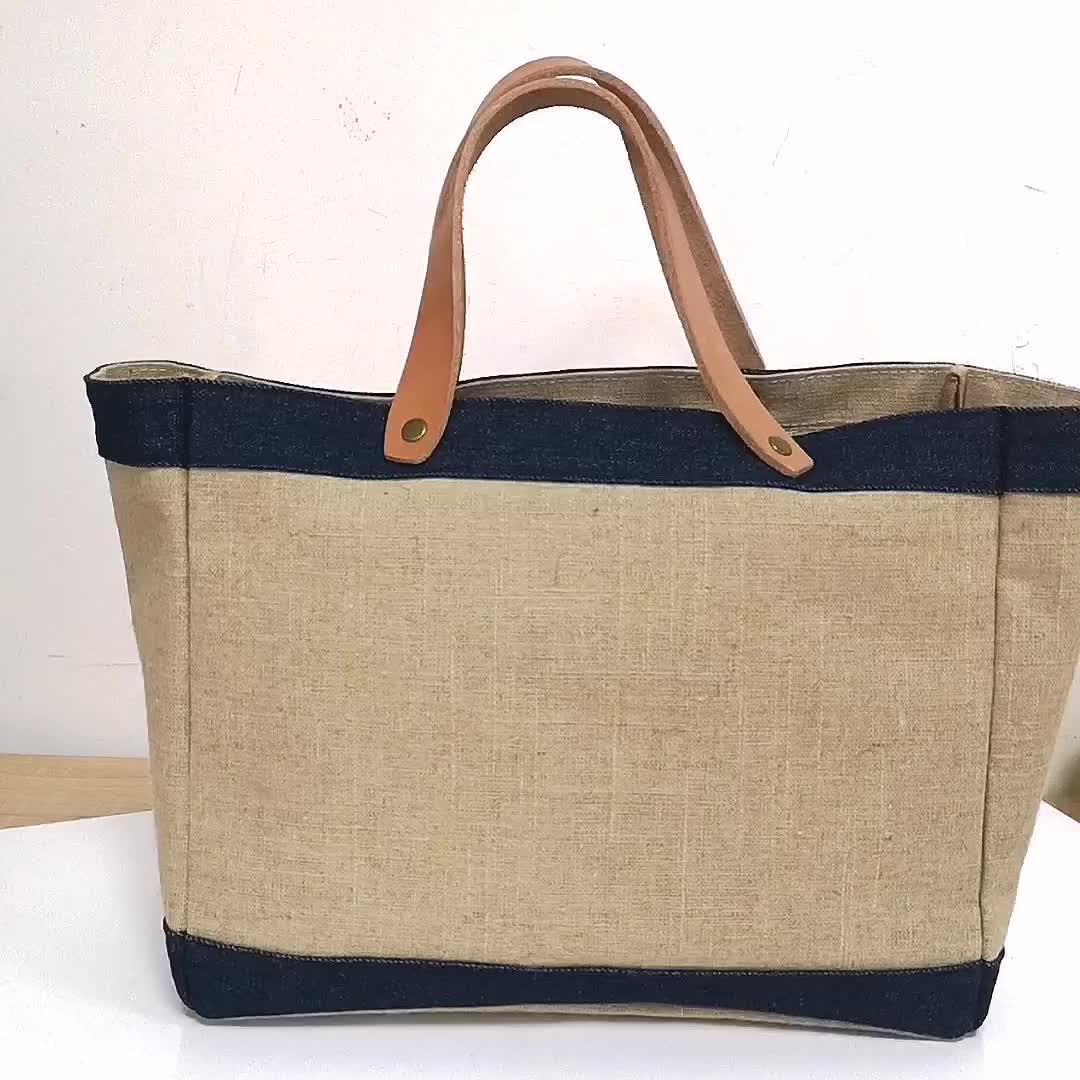 Eco Friendly Handbag Jute Grocery Tote Bags Reusable Burlap Jute Bag With Leather Handle