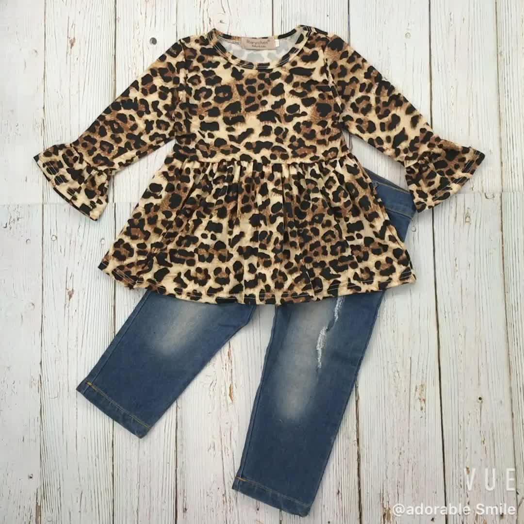 RTS Baby Children Girls Kids Clothing Outfits Leopard Cheetah Top Dress+Denim Pant Sets