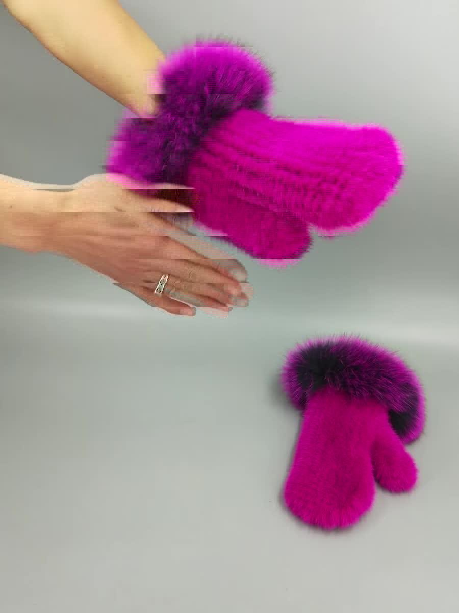 Multi Berwarna Bulu Sarung Tangan Rajutan Tangan Peregangan Sarung Tangan Benar-benar Fox Berbulu Ibu Jari Sarung Tangan