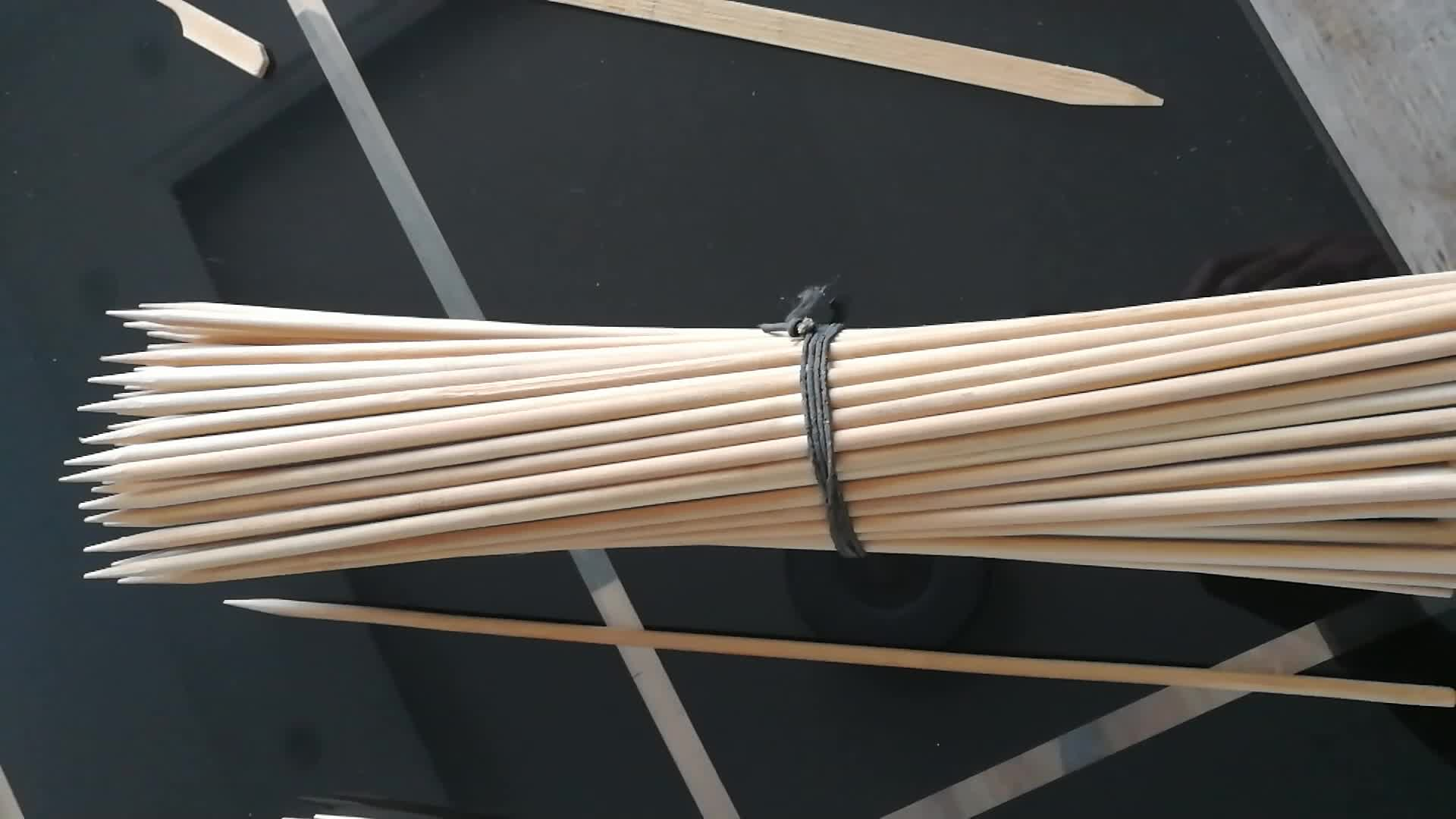 Bamboo Skewers Barbecue Sticks With Round Flat Square