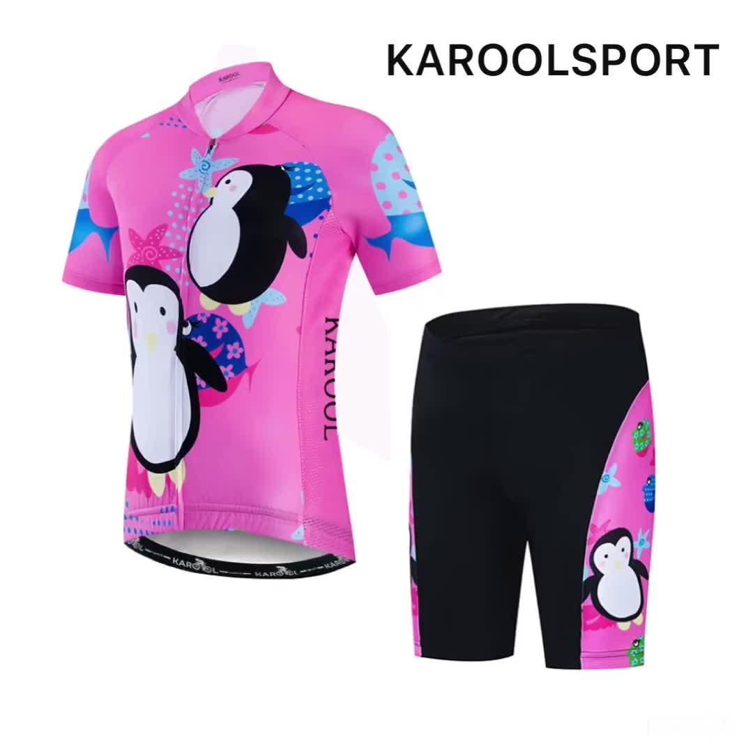 Karool Enfants Vélo Maillot Et Short En Ensemble Respirant Polyester Manches Courtes vêtements De Cyclisme Personnalisés