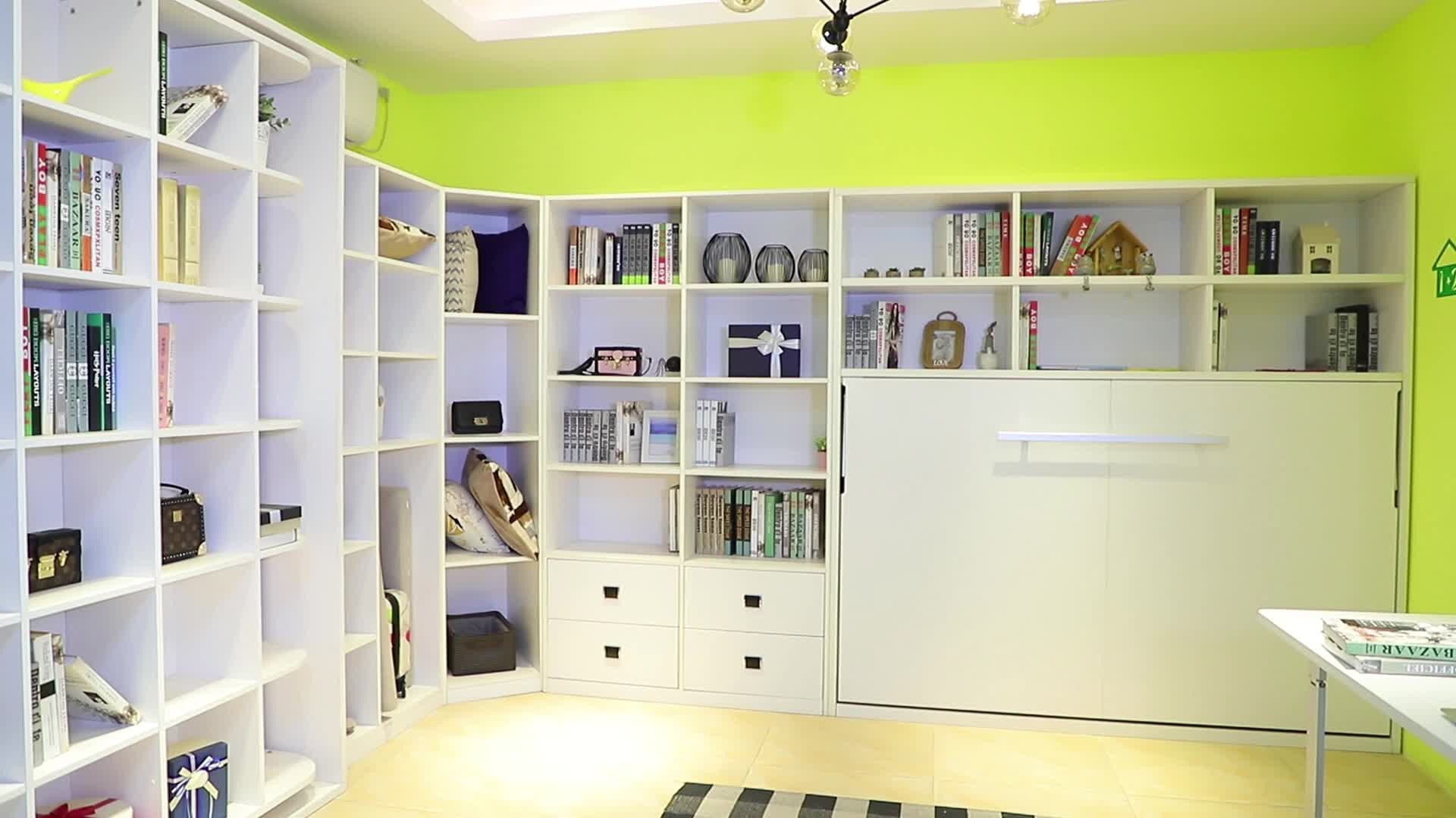 New arrival innovative design rotated hidden wall bed Murphy bed with bookshelf