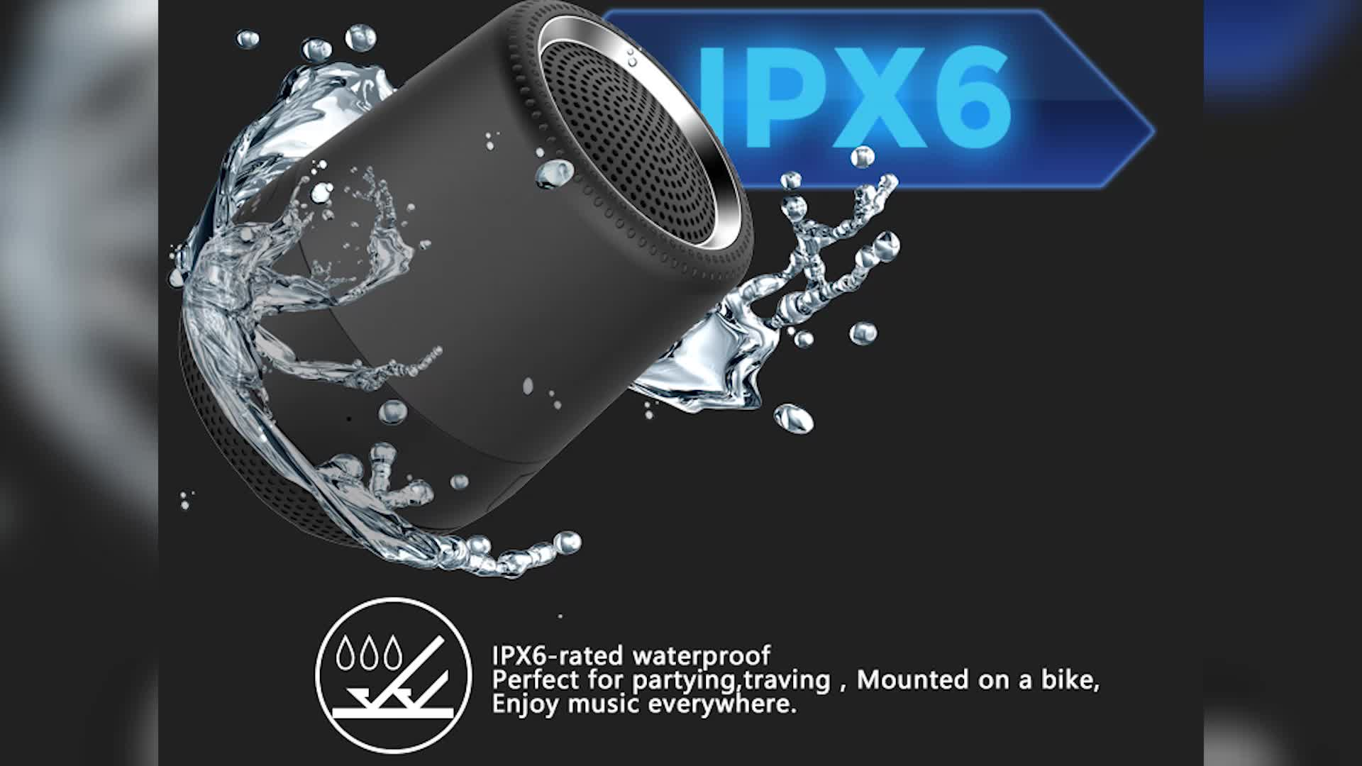 8W IPX6 Mini Portable Wireless Waterproof Bluetooth Speaker