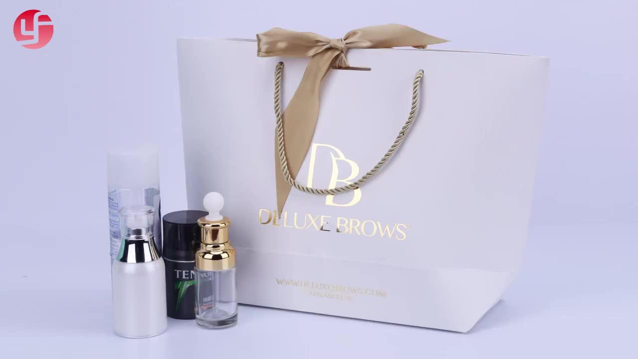 女性白紙ショッピングギフトバッグホット販売用のリボンで包装袋ショッピング衣類やギフト