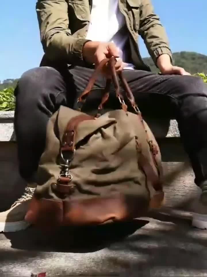 MBL003 En Gros vintage en toile imperméable avec sac de sport en cuir sacs de voyage pour hommes