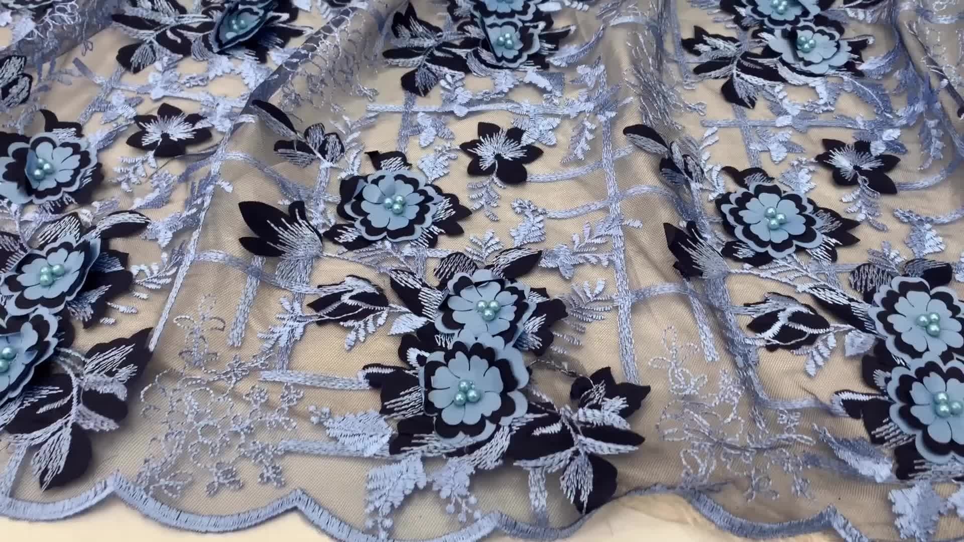 blue 3D Flowers Lace Embroidery Lace Fabric for Women Wedding Dress High Quality African French Tulle Lace Fabric XZ2802B