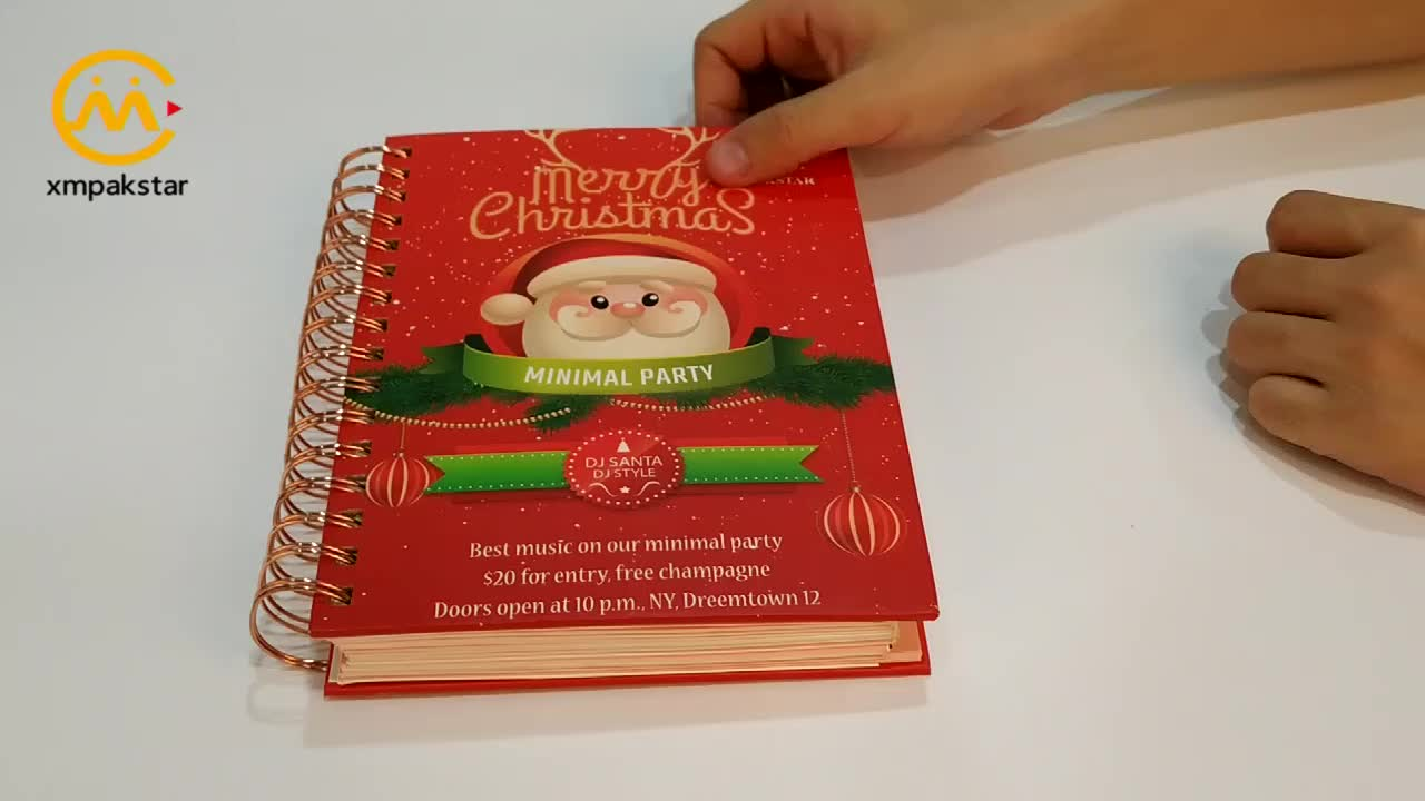 Custom A4 A5 Christmas style banded spiral hardcover diary notebook with index tab